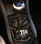 Cuffia leva cambio Seat Ibiza 6L TDI vera pelle nera con ricamo