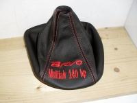 Fiat Nuova bravo cuffia cambio in vera pelle nera con ricamo ros