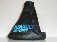 renault Clio cuffia cambio con ricamo azzurro