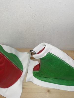 500 epoca - Cuffia Cambio Freno in pelle tricolore