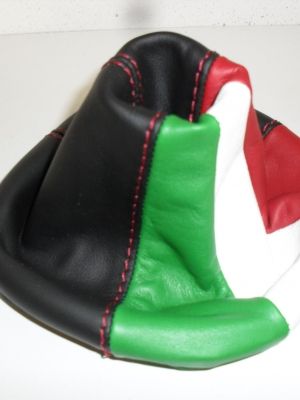 Cuffia cambio fiat panda nera + tricolore in vera pelle