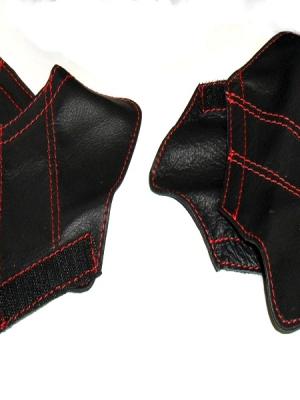 Alfa Romeo 147 5 porte copri maniglia pelle nera e cuciture ross
