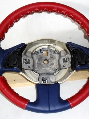 Coprivolante kit 3 pz. Fiat nuova 500 vera pelle rossa+clip