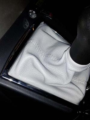 Cuffia leva cambio Toyota Corolla Verso vera pelle grigia