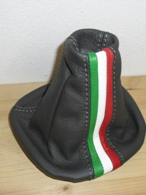 Cuffia leva cambio Fiat Panda 319 vera pelle antracite+tricolore