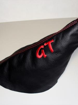 Cuffia leva freno Fiat Punto GT Turbo vera pelle nera + ricamo