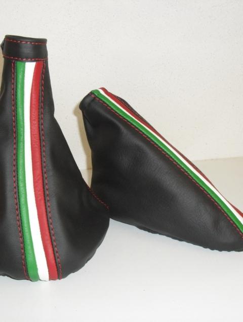 ALFA ROMEO MiTo rivestimento cuffia Cambio e Freno Nero e Cuciture Tricolore