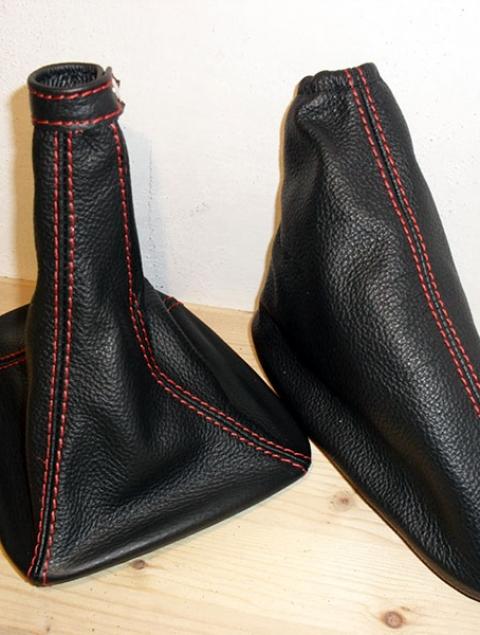 Alfa Romeo - Mito - cuffia cambio e freno pelle nera con cucture