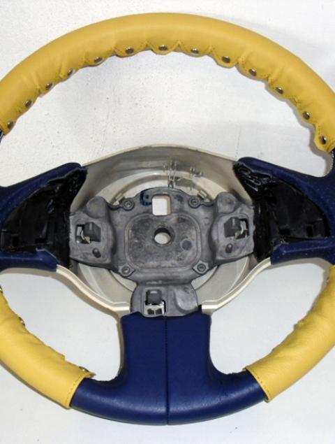 Coprivolante kit 3 pz. Fiat nuova 500 vera pelle gialla+clip